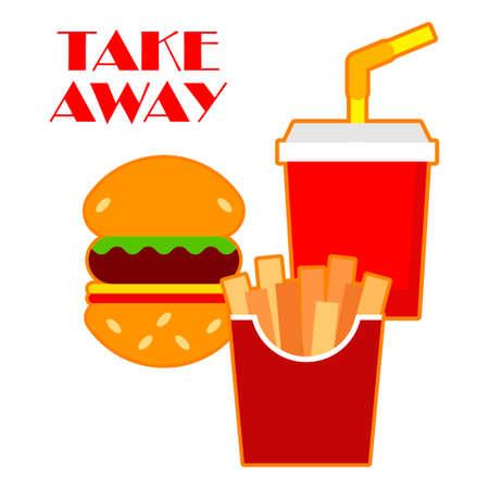 Take Away Food delivery. Vector illustration for web design or print.