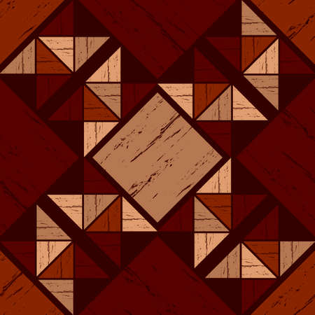 Brown floor with wooden texture. Netting. Ethnic boho ornament. Geometry. Seamless pattern. Vector illustration for web design or print.