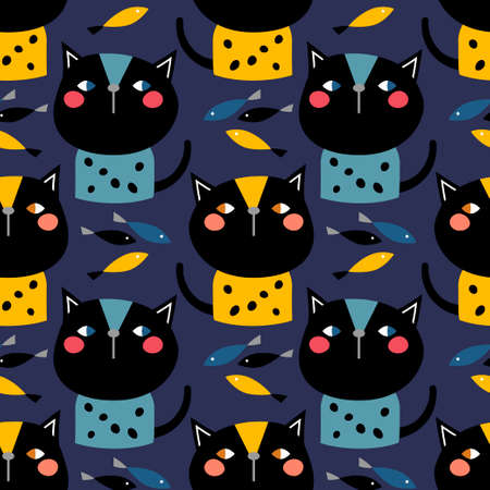 Decorative painted cats. Cute cartoon. Vector illustration for web design or print. Vettoriali