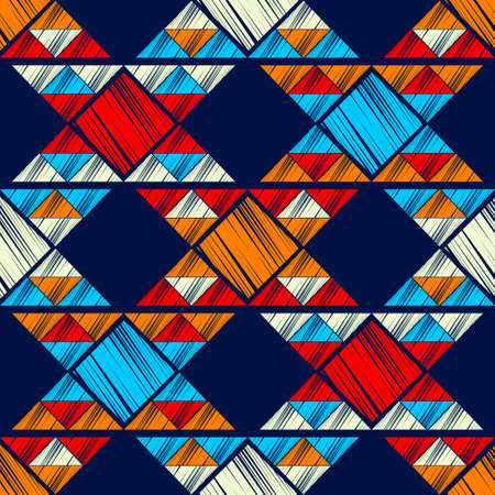 Mosaic with geometric shapes. Geometry. Seamless pattern. Design with manual hatching. Textile. Ethnic boho ornament. Vector illustration for web design or print.