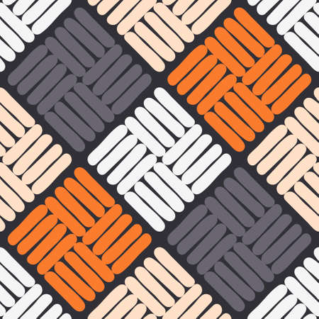 Scrawl. Mosaic with geometric shapes. Seamless pattern. Design with manual hatching.