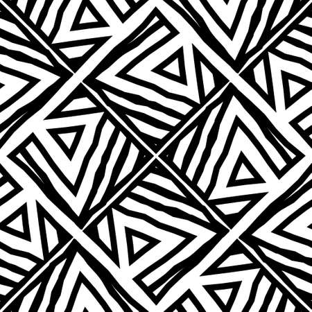 Black geometric shapes on a white background. Broken lines. Striped structure. Vector illustration for web design or print.