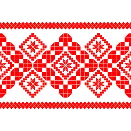 Belarusian national ornament. Slavic red and white colors. Seamless pattern. Vector illustration for web design or print.