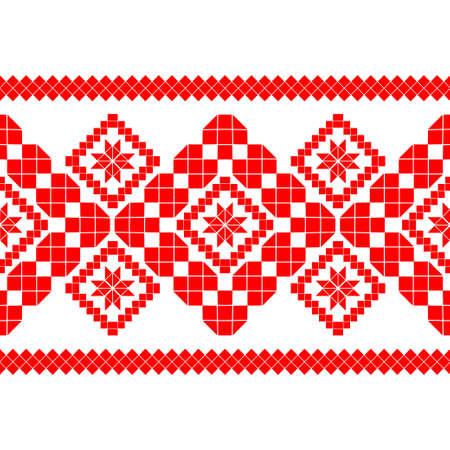 Belarusian national ornament. Slavic red and white colors. Seamless pattern. Vector illustration for web design or print. Ilustração