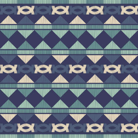 Mosaic with geometric shapes. Seamless pattern. Design with manual hatching. Textile. Ethnic boho ornament. Vector illustration for web design or print. Vector Illustration