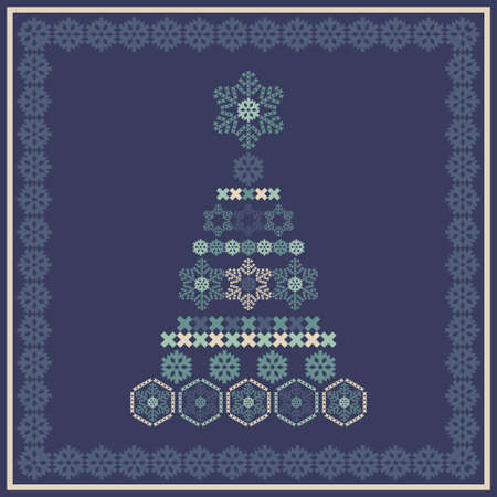 Greeting card with Christmas trees and snowflakes. Design of crosses. Holiday elements. Vector illustration for web design or print. 向量圖像