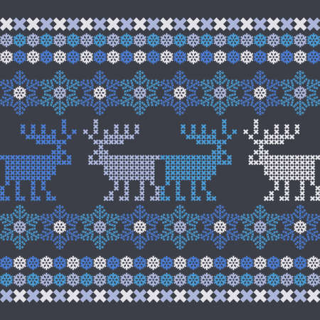 Christmas cross-stitch. Seamless pattern. Holiday fabric. Vector illustration for web design or print.