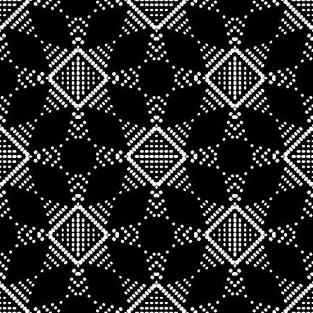 Geometric shapes from points. Digital ornament. Halftone. Vector illustration for web design or print.