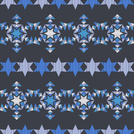 Christmas decorative snowflakes made of triangles. Geometrical figure. Seamless background. Boho style. Vector illustration for web design or print.
