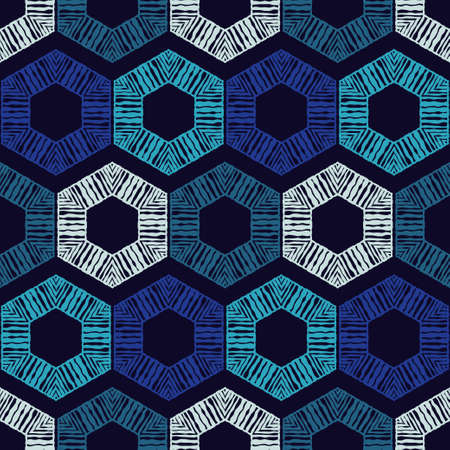 Mosaic with geometric shapes. Seamless pattern. Design with manual hatching. Textile. Ethnic boho ornament. Vector illustration for web design or print.