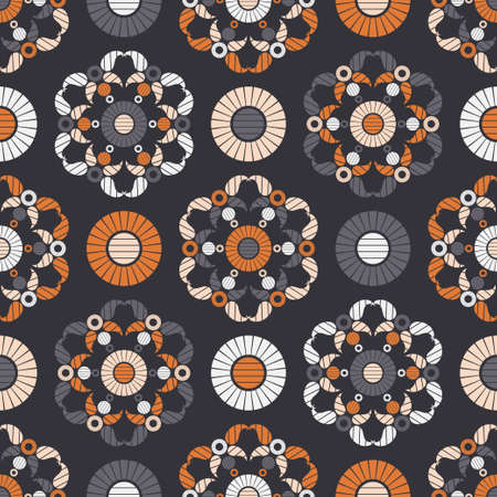 Paisley ornament. Seamless background. Design with manual hatching. Ikat. Vector illustration for web design or print.