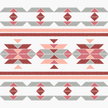 Aztec elements. Seamless pattern. Design with manual hatching. Textile. Ethnic boho ornament. Vector illustration for web design or print.