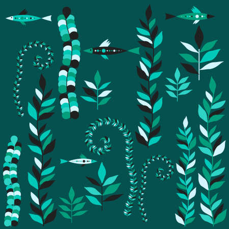 Seaweed and fish in the sea. Underwater world. Seamless pattern. Vector illustration for web design or print.