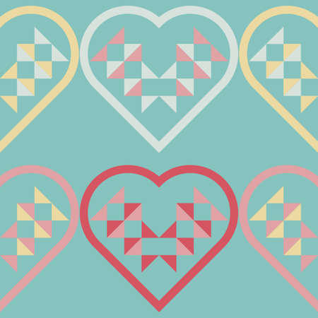 Hearts made of triangles. Valentine's Day. Seamless background. Greeting card. Vector illustration for web design or print.