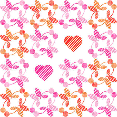 Seamless background of decorative flowers and hearts. Valentine's Day. Design with manual hatching. Ethnic boho ornament. Textile. Vector illustration for web design or print.