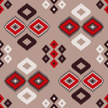 Navajo mosaic rug with traditional folk geometric pattern. Native American Indian blanket. Aztec elements. Seamless background. Vector illustration for web design or print.