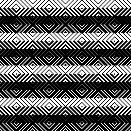 Shapes made of stripes. Mosaic with geometric shapes. Seamless pattern. Design with manual hatching. Textile. Ethnic boho ornament. Vector illustration for web design or print. Ilustrace