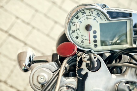 motor cycle: Modern auto speed meter motor cycle . Instrument Panel Stock Photo