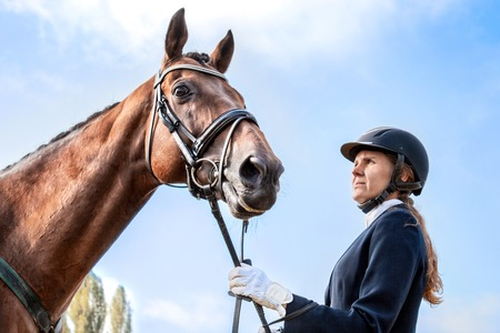 equitation: Beautiful girl jockey stand next to her brown horse wearing special uniform on a blue sky background on a sunny day. Equitation sport competition and activity.