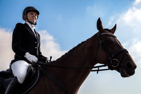 equitation: Portrait of young serious emotional jockey woman sitting on her horse wearing special uniform. Equitation sport competition and activity.