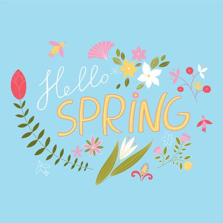 chik: Joyous, spring floral composition. Spring. Vector background. Joyous, spring floral composition. Spring. Vector background.