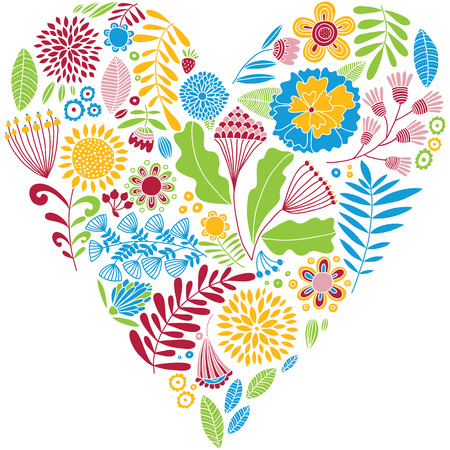 sincere: Bright color vector heart. Naive drawing. Card. Illustration