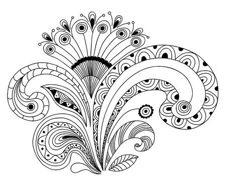 composition book: Monochrome Flower vector composition. Coloring Book.