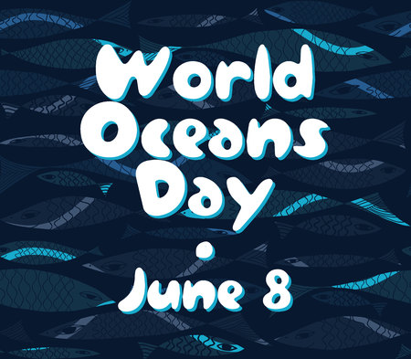 the oceans: Vector Marine pattern. Underwater fish. World Oceans Day.