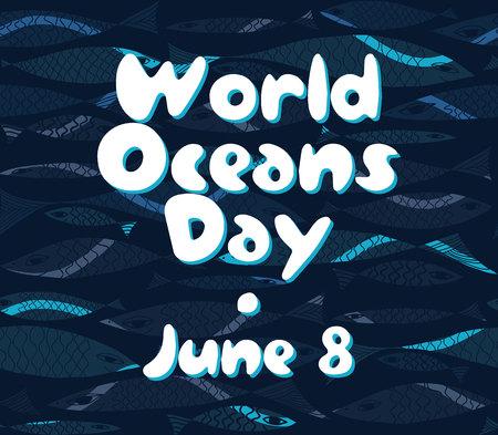 oceans: Vector Marine pattern. Underwater fish. World Oceans Day.