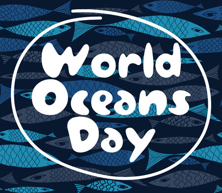 the oceans: Vector composition with fish. World Oceans Day. Undersea world.