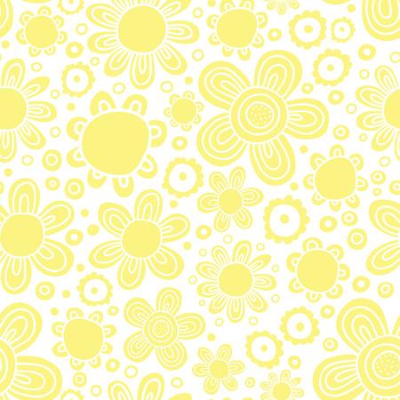 naive: Flower yellow pattern. Naive drawing. Vector.