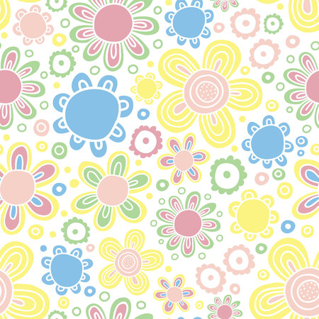 Colorful floral vector pattern. Bright colors. Naive drawing.