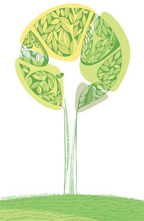 árbol decorativo de color verde brillante con un pájaro. Composición del vector.