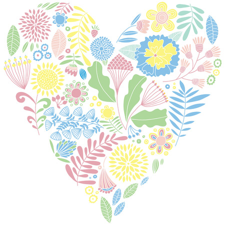 naive: Delicate color floral vector heart. Naive drawing. Card. Illustration