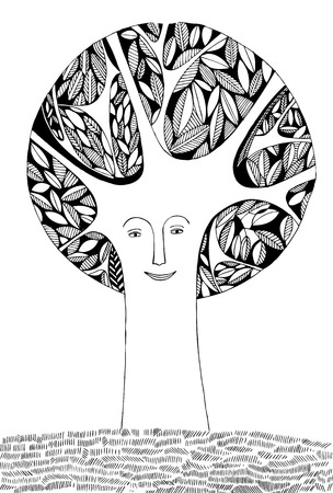 evergreen trees: Black and white decorative face fairy tree. Vector composition.