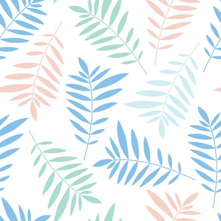 pleasant: Vector pattern. Leaves of palm pleasant delicate flowers. Illustration