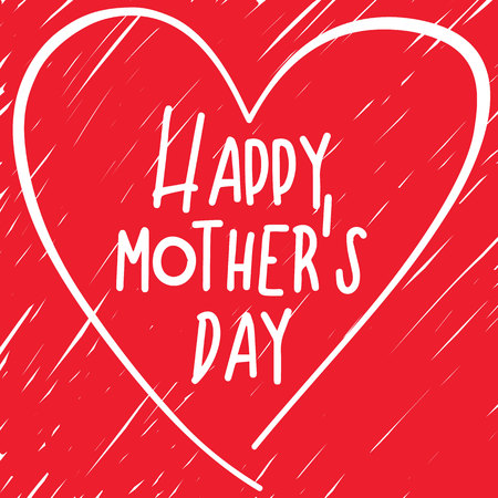 naive: Mothers day. Vector heart with a naive lettering. Strikeout background. Red color.