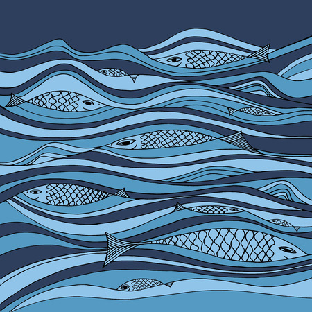 Water vector composition with fish. Illustration