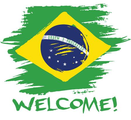 塗装塗装、ブラジルの国旗をベクトルします。カード、バナー、ポスター。ようこそをレタリングします。