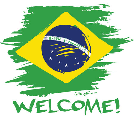 Vector flag of Brazil, painted paint. Cards, banners, posters. Lettering Welcome.