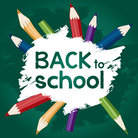 Torna a scuola disegni calligrafici con matite colorate sulla lavagna. Vettoriali