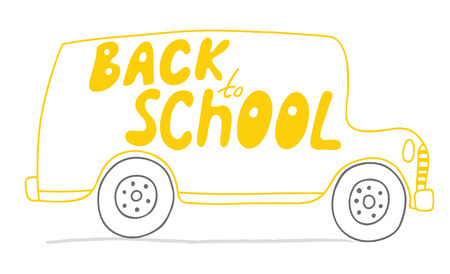 School bus in vector. Back to School! Naive, a childs drawing of the bus. Suitable for postcards, posters and other printing.