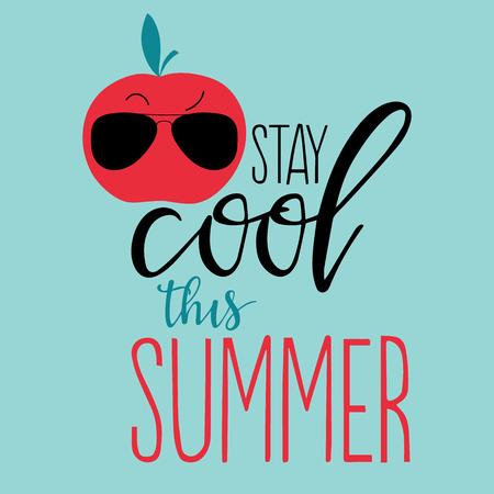 手描きフルーツ夏背景をベクトルし、「涼しくこの夏」書かれたテキストを手します。エキゾチックなフルーツ、レタリング、グランジ テクスチャ