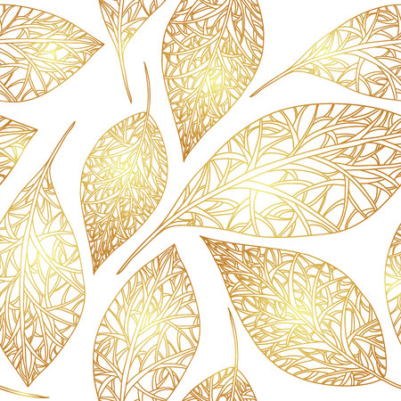 gold leafs: Seamless pattern with gold leafs, autumn leaves background. Illustration