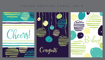 hooray: Set of greeting cards  invitation cards design  birthday party Illustration