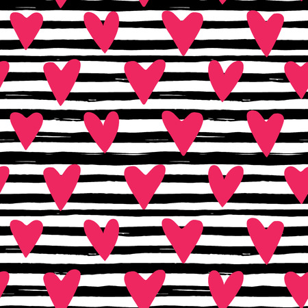 textile background: Bright vector pattern with hearts and lines. Illustration