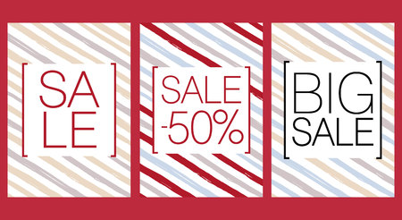 salesperson: Set of beautiful sale posters with percent, big sale. Vector. Illustration