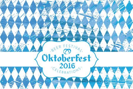 wiesn: blue and white Oktoberfest banner with text Oktoberfest 2016 (german)