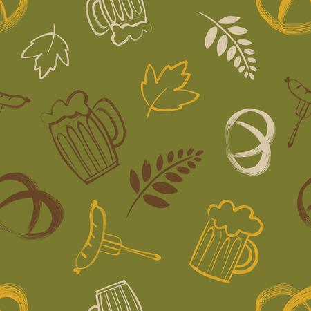 banger: Seamless pattern with oktoberfest celebration symbols. Vector illustration. Illustration