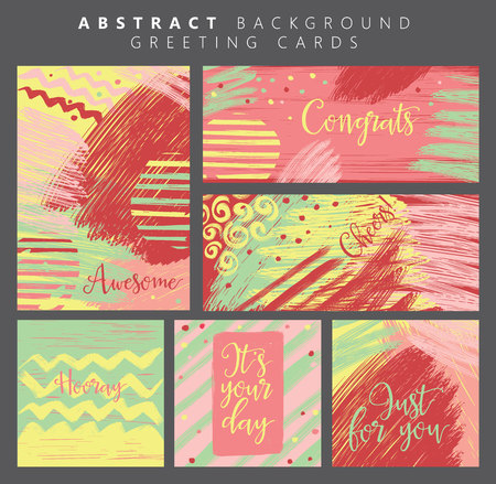 postcard template: Set of artistic background greeting cards. Postcard template.